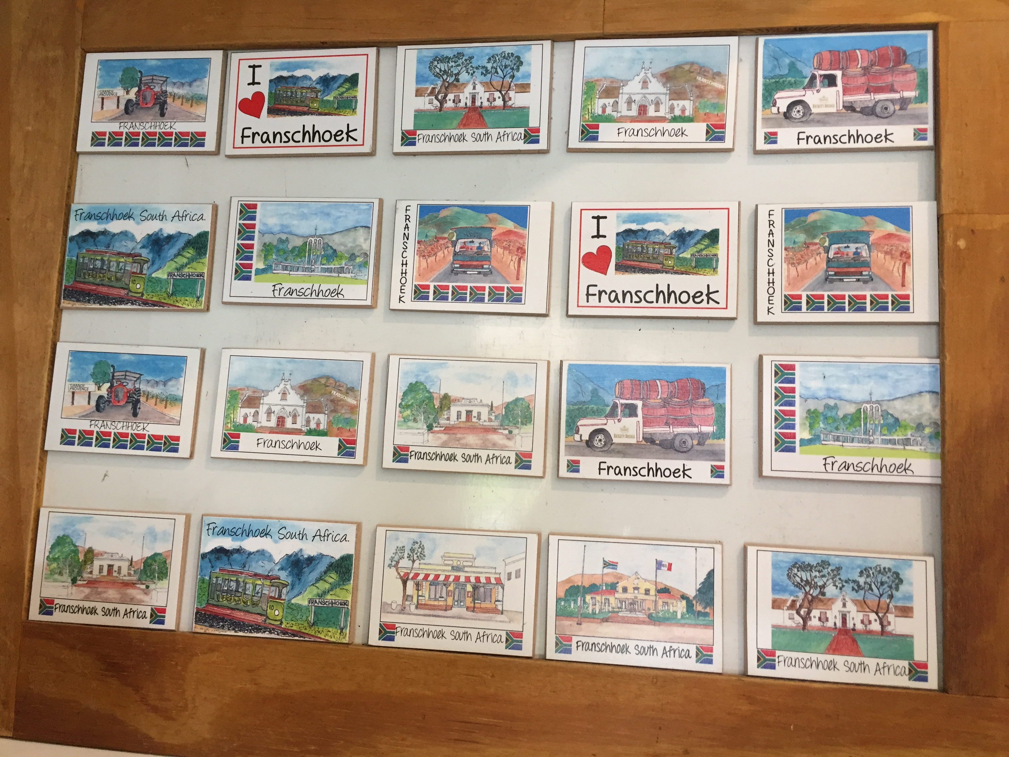 Franschhoek wooden magnets